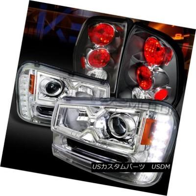 ヘッドライト 02-09トレイルブレイザークロムSMD LED DRLプロジェクターヘッドライト+ Bla   ckテールラン