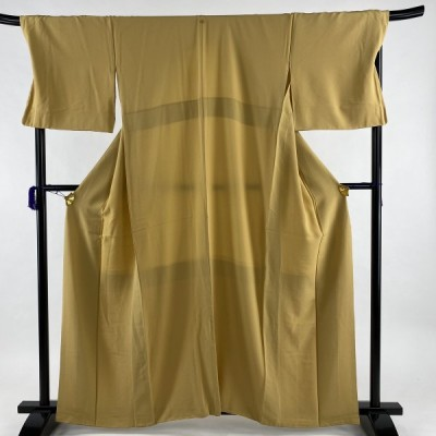 色無地 美品 秀品 一つ紋 山吹色 袷 身丈161cm 裄丈71.5cm L 正絹 中古