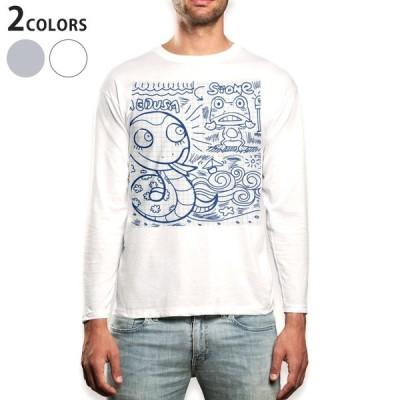 ロングTシャツ メンズ 長袖 ホワイト グレー XS S M L XL 2XL Tシャツ ティーシャツ T shirt long sleeve  動物 キャラクター イラスト 003617