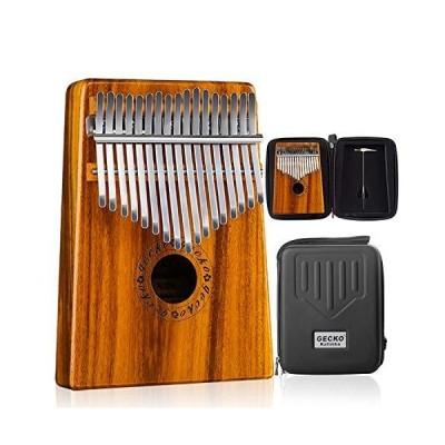 GECKO カリンバBOXと楽譜とカリンバムビラSanza 17キ-親指ピアノ ソリッドKOAウッド並行輸入品