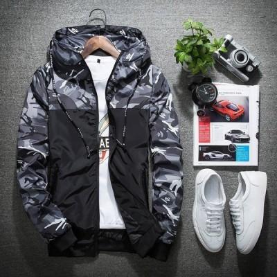 ジャケット 長袖 コート アウトドア ナイロンジャケット 新品 春秋 迷彩 メンズ フード付き 大人気 WL1024046-2