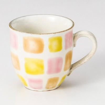 和食器 色彩格子 マグカップ オレンジ コーヒー 珈琲 紅茶 カフェ おしゃれ 陶器 うつわ おうち 軽井沢 春日井 ギフト