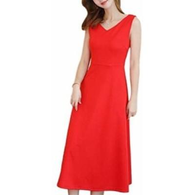 [PlaisteL] リボン ベルト ワンピース (サマー レッド M) レディース ファッション 袖なし ロング丈 春夏 秋 サマードレス フレアー バッ