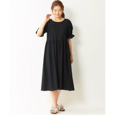 大きいサイズ 綿100%5分袖素材感あふれる涼しげなワンピース ,スマイルランド, ワンピース, plus size dress