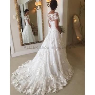 ウェディングドレス Aライン花アップリケブライダルドレスラグジュアリーホワイトカスタムウェディングドレス6 8 10 ++