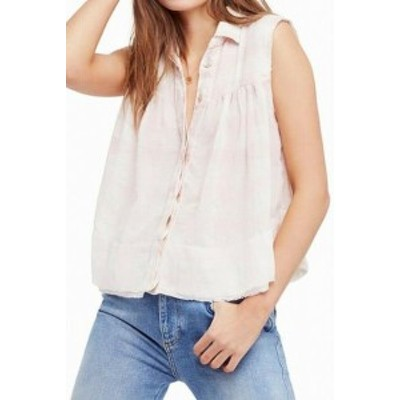 Free People フリーピープル ファッション トップス Free People Womens Pink Size Large L Plaid Print Button Down Shirt