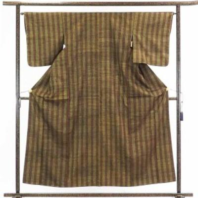 【中古】リサイクル着物 紬 / 正絹茶色地縦縞袷真綿紬着物未使用品 / レディース【裄Mサイズ】