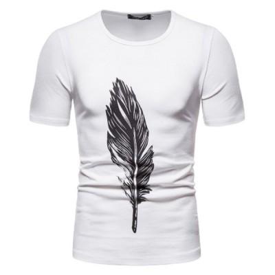 Tシャツ メンズ 長袖 綿 夏 おしゃれ おおきいサイズ 薄手 カジュアル プリント Tシャツ メンズ 半袖 ユニセックス ファッション Uネック 白 黒