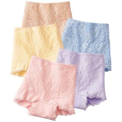 ベルーナ 【5色組】綿100%1分丈お買得安心ショーツ 1 L レディース