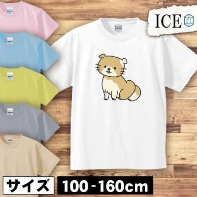 ネコ キッズ 半袖 Tシャツ 猫 ねこ スコティッシュ  男の子 女の子 ボーイズ ガールズ プリント 綿 おもしろ 面白い ゆるい トップス ジュニア かわいい100 110