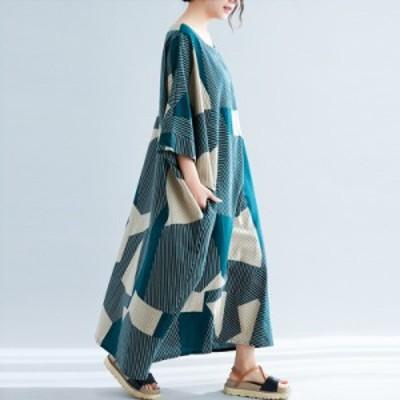 夏 春 ワンピース ロングワンピース フレア Aライン ドレス リゾート 大きい 柄 ゆったり ロング丈 綿