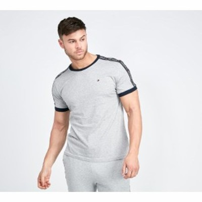 トミー ヒルフィガー Tommy Hilfiger メンズ Tシャツ トップス tape ringer t-shirt Grey Heather