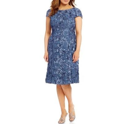 アレックスイブニングス レディース ワンピース トップス Plus Size Cap Sleeve Rosette Lace Dress Brushed Periwinkle