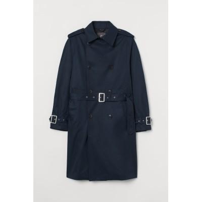 H&M - コットンツイルトレンチコート - ブルー