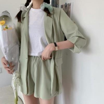 韓国 ファッション レディース セットアップ ジャケット ショートパンツ ウエストゴム ルーズ 無地 ゆったり カジュアル ガーリー レトロ