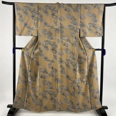 小紋 美品 秀品 扇面 草花 薄茶色 袷 身丈162cm 裄丈65.5cm M 正絹 中古