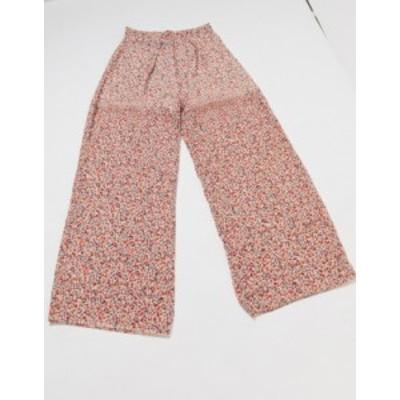 ニュールック レディース カジュアルパンツ ボトムス New Look wide leg pants in red pattern Black pattern