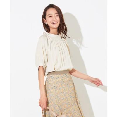 any SiS 【洗える】カッセンデシンギャザー ブラウス (サンドベージュ)