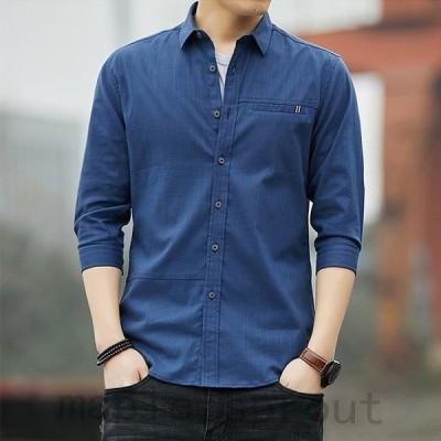 長袖シャツ メンズ  体型カバー レギュラースタイル カジュアルシャツ トップス コットン 白シャツ ブルー 柄 全4色 春 夏 2020