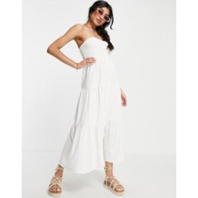 エイソス レディース ワンピース トップス ASOS DESIGN tiered skirt bandeau midi sundress in white White