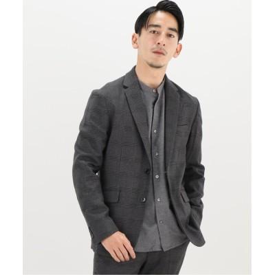 【エディフィス】 TORAY lumilet wool チェックジャケット メンズ グレーベース XL EDIFICE