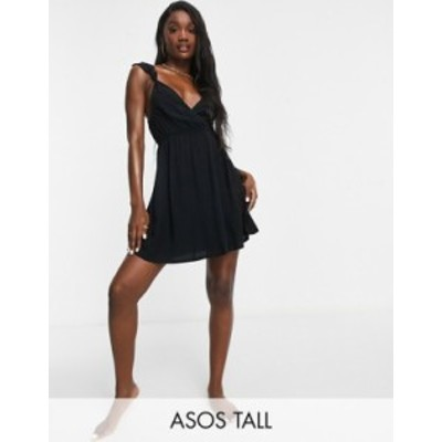 エイソス レディース ワンピース トップス ASOS DESIGN tall recycled knot strap mini beach dress in black Black