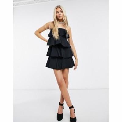 ネバーフリードレス Never Fully Dressed レディース ワンピース ティアードドレス ワンピース・ドレス Tiered Mini Dress In Black ブラ
