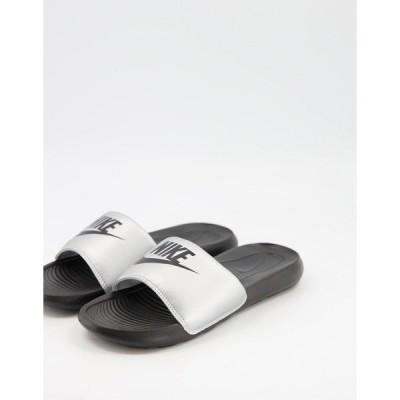 ナイキ レディース サンダル シューズ Nike Victori One slides in silver and black Metallic silver