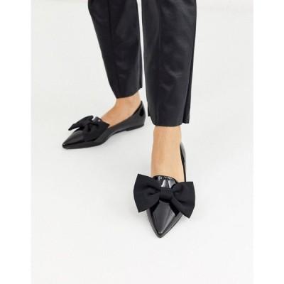 エイソス ASOS DESIGN レディース スリッポン・フラット シューズ・靴 Lake bow pointed ballet flats in black ブラック
