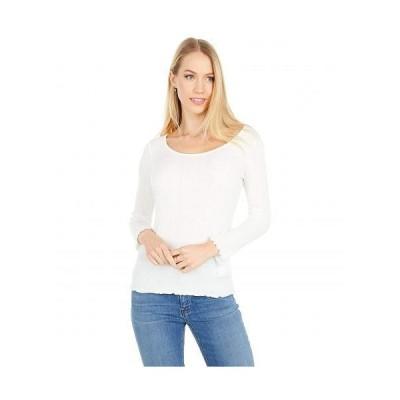 Vince ヴィンス レディース 女性用 ファッション Tシャツ Lettuce Edge Scoop Neck - Off-White