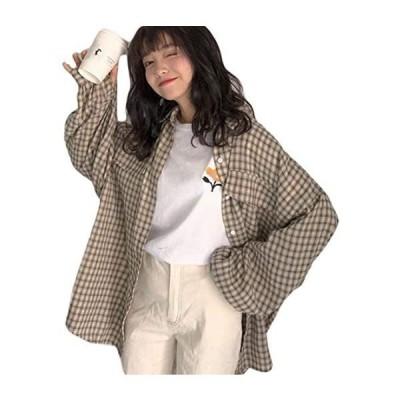 チェックシャツ レディース 長袖 ゆったり チェック柄 シャツ オーバーサイズ 着痩せ 原宿系アウター 春服(s2111131651)