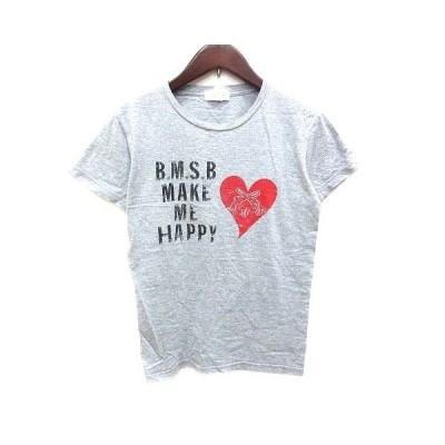 【中古】ビームスボーイ BEAMS BOY Tシャツ クルーネック プリント 半袖 グレー 赤 レッド /YK レディース 【ベクトル 古着】