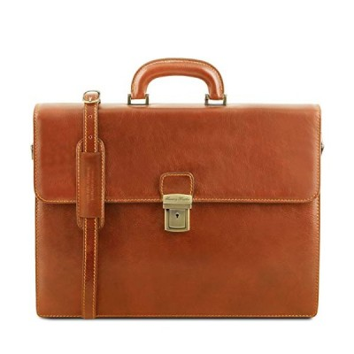 Tuscany Leather Parma Leather Briefcase 2 compartments Honey 並行輸入品