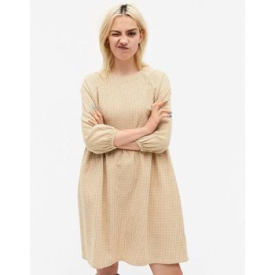 モンキ ミディドレス レディース Monki Sol cotton check print mini smock dress in beige エイソス ASOS ベージュ