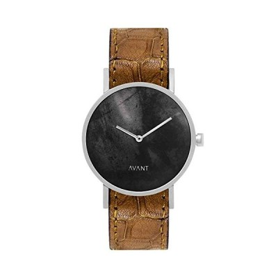 South Lane Stainless Steel Swiss-Quartz Watch with Leather Calfskin Strap, Black, 20 (Model: AW18-89) 並行輸入品