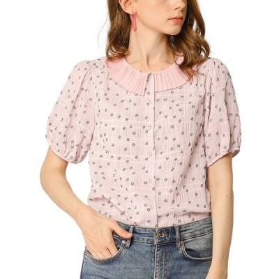 uxcell Allegra K プリーツ襟 ブラウス シャツ パフスリーブ 半袖 ボタン 花柄 レディース ピンク S