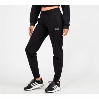 イーエーセブン EA7 レディース ジョガーパンツ ボトムス・パンツ large logo cuff jogger Black/White