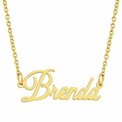 KISPER 18K Gold Plated Stainless Steel Personalized Name Pendant Necklace, Brenda