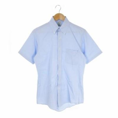 【中古】ブルックスブラザーズ BROOKS BROTHERS シャツ ワイシャツ Yシャツ ボタンダウン 半袖 形態安定 15-33 水色
