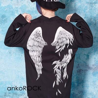 ankoROCK アンコロック 開襟シャツ メンズ オープンカラーシャツ レディース ユニセックス プリント 柄シャツ ビッグシルエット ブラウス 折れた翼