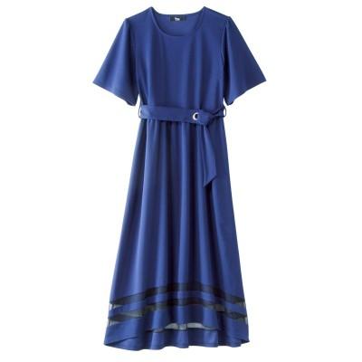 大きいサイズ 裾シアーカットソーワンピース ,スマイルランド, ワンピース, plus size dress