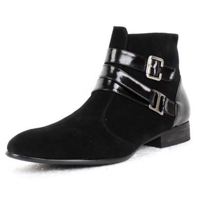在庫一掃セール 値下げ 国内発送 ブーツ 紳士靴 通気性 EEE メンズブーツ 本革 スエード ビジネスブーツ ファスナー Y8111A