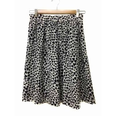 【中古】イエナ une petites merveille スカート ギャザー フレア ひざ丈 総柄 36 白 黒 ホワイト ブラック