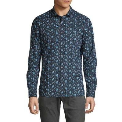 ジョンバルバトス メンズ シャツ トップス Ross Slim-Fit Printed Sport Shirt Blue