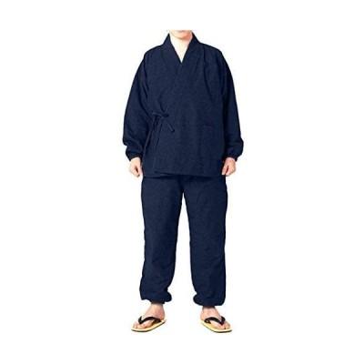 [キョウエツ] 作務衣 冬用 中綿入り 紬風生地 フリース裏地 16 メンズ (ネイビー M)
