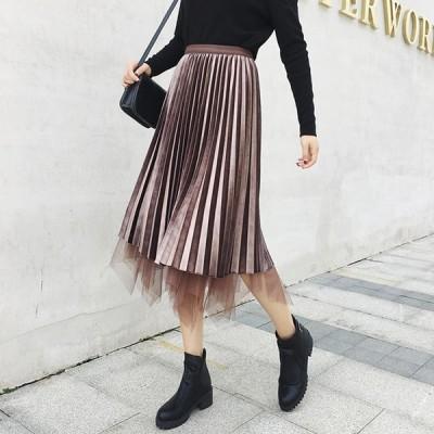 スカート プリーツスカート チュールスカート 膝丈 通勤 オフィス OL アースカラー サテン 上品 華やか きれいめ