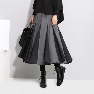 バイカラー スカート ミモレ丈 モード系 フレアスカート 黒スカート ウエストゴム