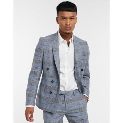 ツイステッドテイラー メンズ ジャケット&ブルゾン アウター Twisted Tailor skinny suit jacket in blue check Blue
