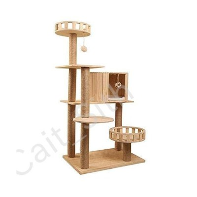 STHDTD Cat Apartment Tree Cat Scratch Cat Tower Jungle Cat Playing with A Large Wooden Hut Gym Lounger Bed to Sleep After Climbing Activity