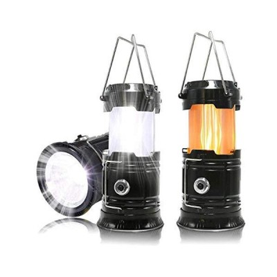 3-IN-1 Collapsible LED Lamp Rechargeable Outdoor Camping Flashlight Lantern lamp for Emergency Hurricane Tent Fishing Camp Indoor (Black)【